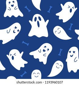 Halloween Seamless Pattern with pumpkin, ghost, cat, bat and candy