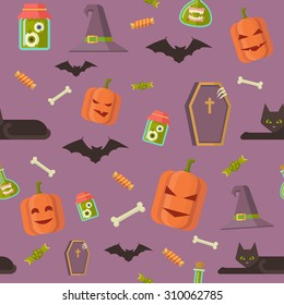 Halloween seamless pattern with pumpkin, hat, grave, coffin and other elements for decoration background made in a flat style