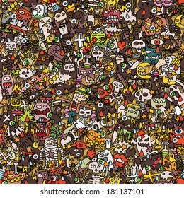 Halloween seamless pattern (repeated) with mini doodle drawings (icons). Illustration is in eps8 vector mode.