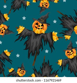 Halloween seamless pattern with A halloween Scarecrows with a Jack O Lantern head.