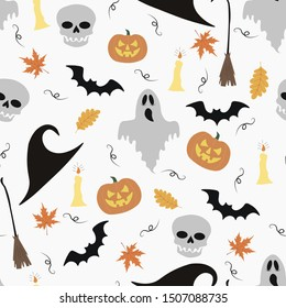 Halloween seamless pattern.  Skull, pumpkin, hat, candle, bat, broom on a white background.  For print, cover, gift wrapping.