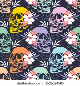 Halloween seamless pattern with skulls and flowers. October vector holiday background.Textile texture