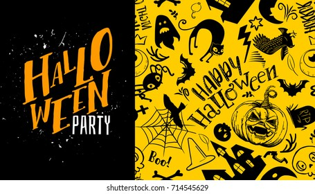 Halloween seamless pattern with Trick or treat calligraphy text logo. Vector background. Ornament for greeting card, invitation, poster. Black and yellow colors. Grave, ghost, pumpkin, cat, bat