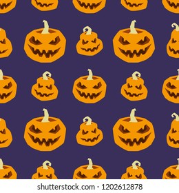 Halloween seamless pattern. Vector illustration of orange pumpkins on a dark blue background for textiles and wallpaper design.
