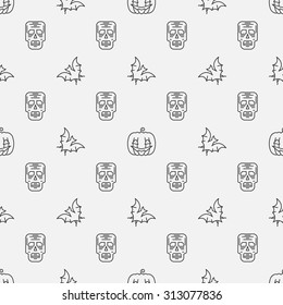 Halloween seamless pattern - vector minimal halloween background made with thin line pumpkin, skull and bat