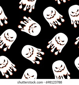 Halloween seamless pattern with white ghosts. Festive decoration of advertising and congratulatory products. Flat vector cartoon illustration. Objects isolated on black background.