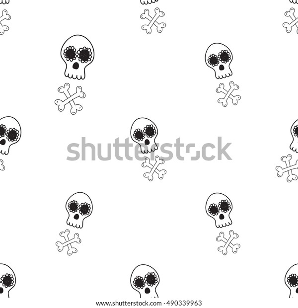 661523dff5f Halloween Seamless Pattern White Mexican Skull Stock Vector (Royalty ...