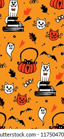 Halloween seamless vector background with cats, bats, spiders. In black and orange colors. Good for packaging design, halloween packaging paper, thematical background