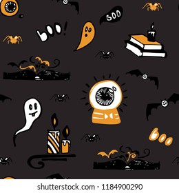 Halloween seamless vector background with ghosts, spiders, bats, magic books and candles. Good for packaging design, halloween packaging paper, thematical background