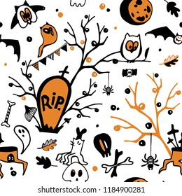 Halloween seamless vector background with owls, ghosts, bats, spiders, skulls and trees. Halloween semless pattern