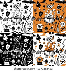 Halloween seamless vector background with witch elements. Set of seamless patterns.