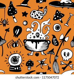 Halloween seamless vector background with witch elements. Seamless pattern.