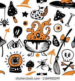 Halloween seamless vector background with witch elements: poisonous mushrooms, hats, spiders, skulls, bones,  witch broom, cauldron with potion.