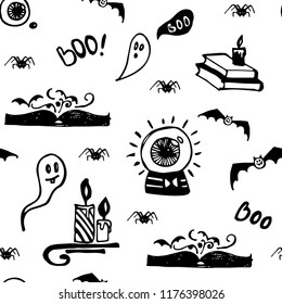 Halloween seamless vector black and white background with ghosts, spiders, bats, magic books and candles. Colouring background for children