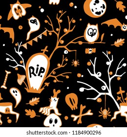 Halloween seamless vector dark background with owls, ghosts, bats, spiders, skulls and trees. Halloween semless pattern