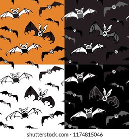 Halloween seamless vector pattern with bats. Good for packaging design, halloween packaging paper, thematical background