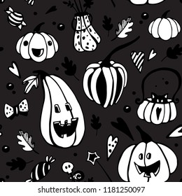 Halloween seamless vector pattern with different pumpkins. Good for packaging design, halloween packaging paper, thematical background