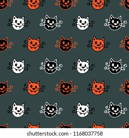 Halloween seamless vector pattern with vampire cat heads