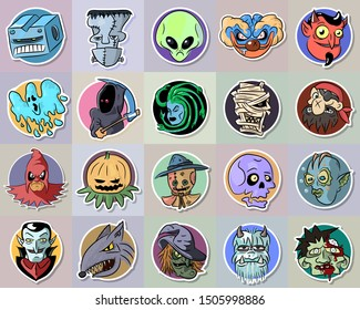 halloween set of 20 characters: robot, ghost, pumpkin, werewolf, vampire, zombie, mummy, pirate, devil, gorgon, clown, executioner, alien, skull, witch, robot, skull, scarecrow. Sketch sticker vector