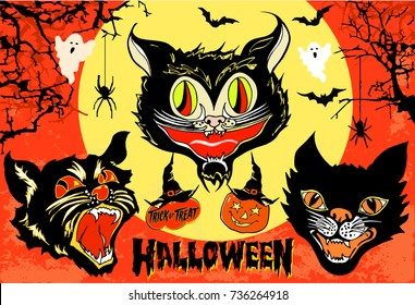 Halloween set of 3 angry black cat head masks on full moon and orange sky background with spooky branches, bats, pumpkin and ghosts. Vintage style hand drawn vector illustration.