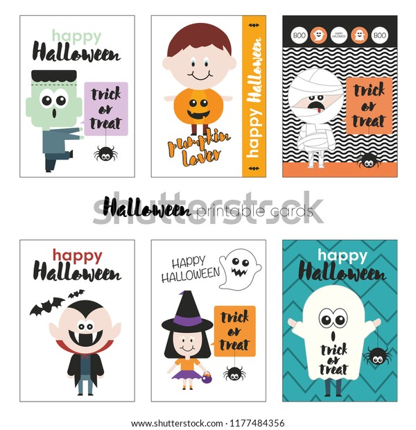 graphic relating to Happy Halloween Cards Printable identify Halloween Mounted Playing cards Printable Playing cards Halloween Inventory Vector