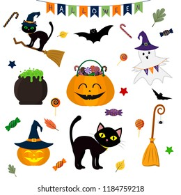 Halloween set of cute elements, objects and icons for your design in a cartoon style, isolated on a white background. Vector, flat.
