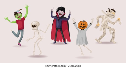 halloween set. dancing. zombie, ghost, skeleton, vampire, pumpkin, vector