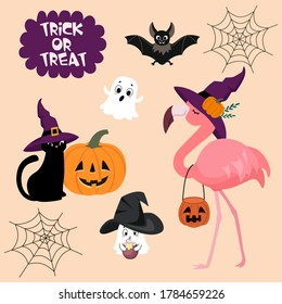 Halloween set with flamingo,  ghosts, cat, pumpkin and bat. Vector illustrations for card, poster, banner, logo and other uses.