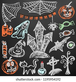 Halloween. A set of funny objects. Color chalk on a blackboard. Collection of festive elements. Autumn holidays. Pumpkin, cobweb, flags, candle, ghost, sinister castle, eye, potion, tree, candy