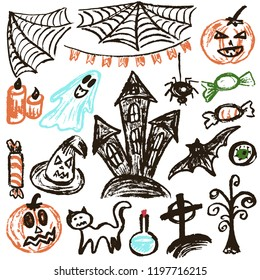 Halloween. A set of funny objects. Vector illustration. Collection of festive elements. Autumn holidays. Pumpkin, cobweb, flags, candle, ghost, sinister castle, eye, potion, tree, candy