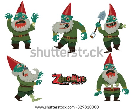 halloween set of garden gnomes which became zombies 5 characters vector
