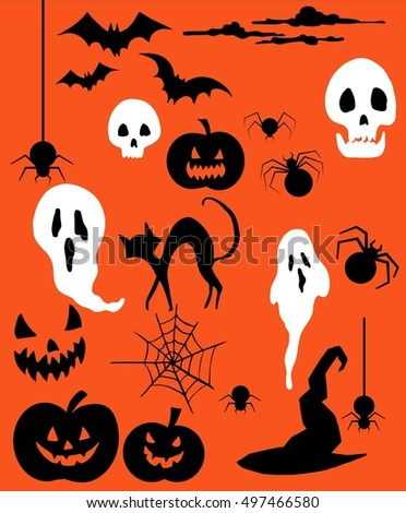 Halloween set, ghosts, skulls, bats, pumpkins, spiders