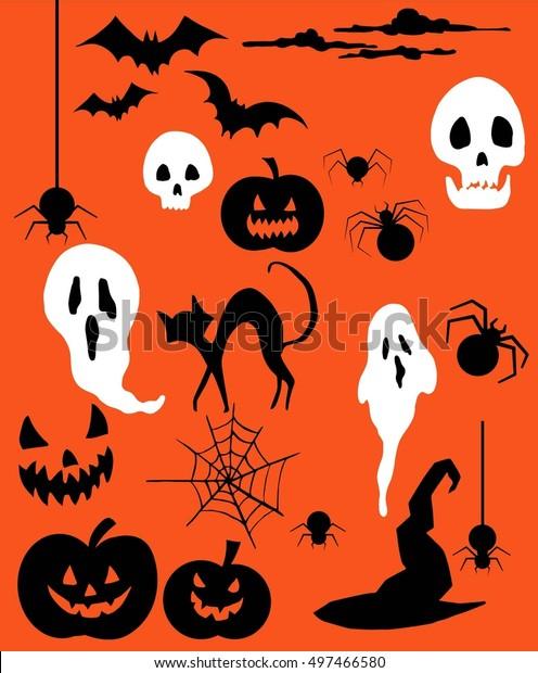 Halloween set, ghosts, skulls, bats, pumpkins, spiders