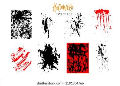 Halloween set of hand drawn backgrounds, textures, grunge dirty design elemnts. Ink splatters, brush strokes.