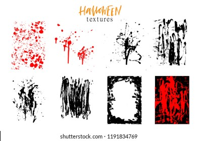 Halloween set of hand drawn backgrounds, textures, grunge dirty design elemnts. Ink splatters, brush strokes.