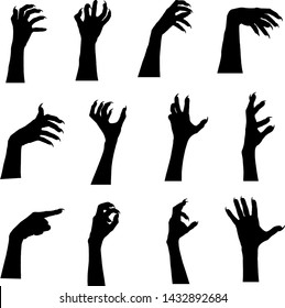 Halloween set of hands silhouettes with claws. Hands with twisted fingers isolated on white background