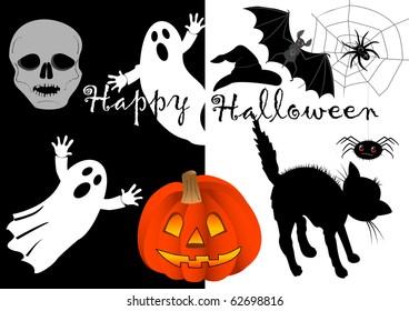 halloween set icons. pumpkin, skull, bat...vector.