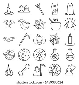 The halloween set of icons - tombstone, grim reaper, spider on the web, voodoo doll, ghost over the tombstone, tombstones, scythe