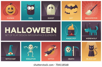 Halloween - set of modern vector flat design icons with gradient colors. Pumpkin, owl, ghost, bat, broomstick, magic pot, werewolf, witch hat, skeleton, death, black cat