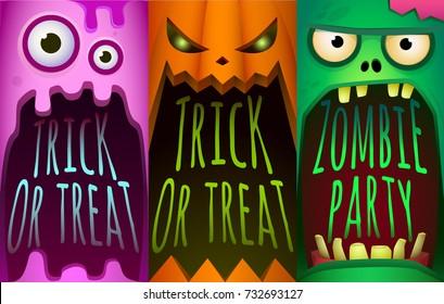 Halloween set. Monster, pumpkin, zombies