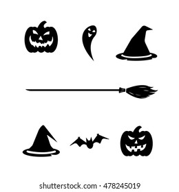 Halloween set on white background. Pumpkin, ghorst, hat, bat, broom. Vector illustration.