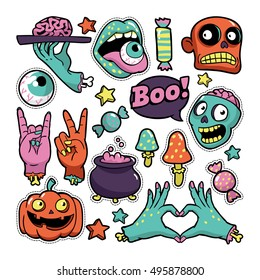 Halloween set of patches with pumpkin, zombies and other elements. Vector illustration isolated on white background. Set of stickers, pins, patches in cartoon comic style.