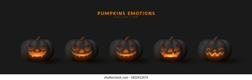 Halloween Set of pumpkin for holiday. Realistic 3d black pumpkins with cut scary good joy smile. Collection of 3d objects. Design elements isolated on dark background. Vector illustration