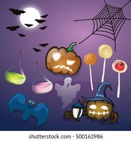 Halloween set. Pumpkin, lollipops, magic drinks, ghost