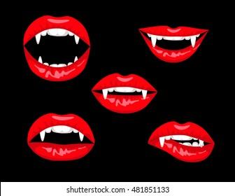 Halloween set of red vampire lips on black background