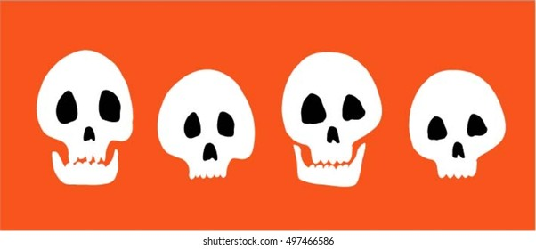 Halloween, set of skulls on orange background