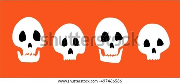 Halloween, set of skulls on orange background