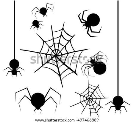Halloween, set of spiders and spider webs  flying on a white background