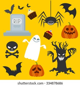 Halloween set , style flat, on a white background vector