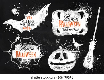 Halloween set symbols pumpkin, broom, bat, spider webs, lettering and stylized drawing with chalk on blackboard